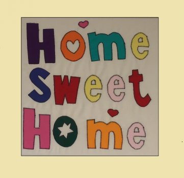 "Patchworkbild, Patchwork, Quilt, ""Home Sweet Home"""