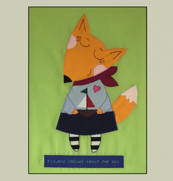 "Patchworkbild, Patchwork, Quilt, ""Fox,who dreams about the sea"""